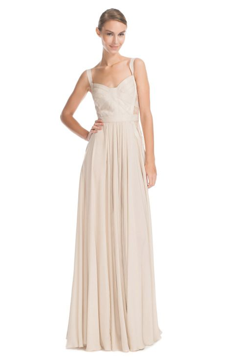 Elie Saab Vanilla Silk Georgette and Lace Long Dress