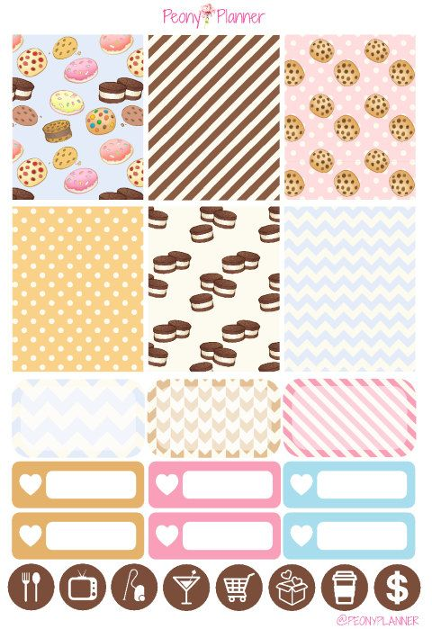 Cookies Weekly Kit Erin Condren Planner Stickers by PeonyPlanner