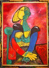 SALES Mutter und Kind , 50x70cm, Öl auf Leinwandkarton mit Rahmen by manuwa