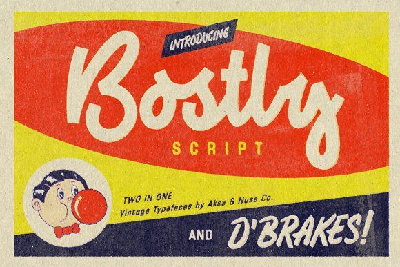 Vintage Fonts Bostly & D'brakes by Aksa & Nusa Co. on @creativemarket