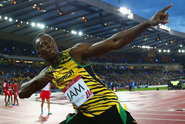"""You know Usain Bolt, the multiple Olympic gold medal-winning sprinter, multiple record holder and all-round sporting legend who does this pose?   Usain Bolt Rated Babies Doing His """"Lightning Bolt"""" Pose On Twitter"""