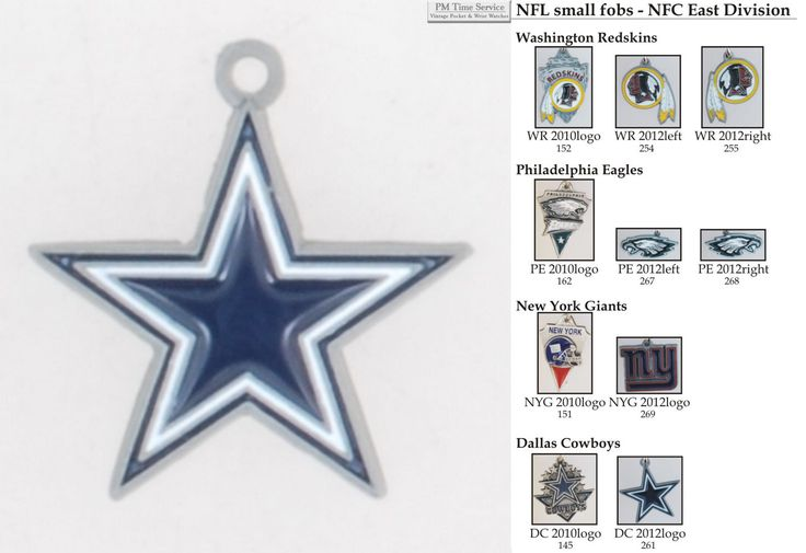NFL team logo fobs (NFC East teams), pewter-toned with leather strap finishing options.  Starting at $10.00, on eBay!