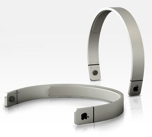 Sang-hoon Lee's vision for the Apple Headphones. Looks more like a hairband with a sleek finish. See the touch of volume controls within the glowing apple logo.