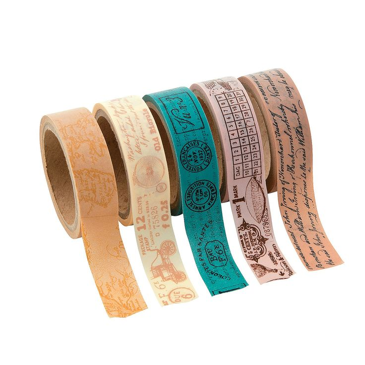 """Travel Washi Tape Set colorful and unique to match any project! 5 rolls of 5/8"""", 16 ft of tape each!  A steal at a dollar a roll.   - http://www.orientaltrading.com/travel-washi-tape-set-a2-13644680-11-0.fltr?xsaleSku=13606800"""