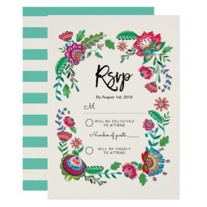 Folk Flowers | Stripe | Rsvp Reply card Invitation - diy cyo personalize design idea new special custom