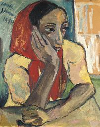Irma Stern (1894-1966)   Portrait of a woman, seated, wearing red ...