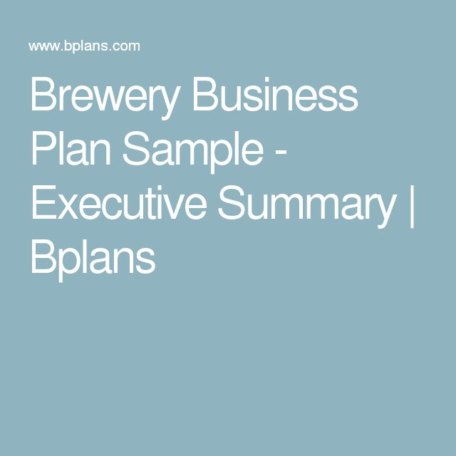 Brewery Business Plan Sample - Executive Summary