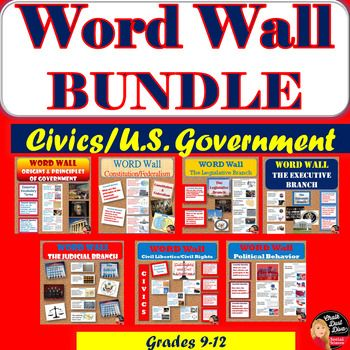 WORD WALL Posters BUNDLE Posters(CIVICS) WORD WALL Posters BUNDLE Posters(CIVICS) What a great way to make sure your students use academic vocabulary and essential questions in your CIVICS/American Government class but to have them displayed on the wall in your classroom! Purchase in BUNDLE and receive 20% off!