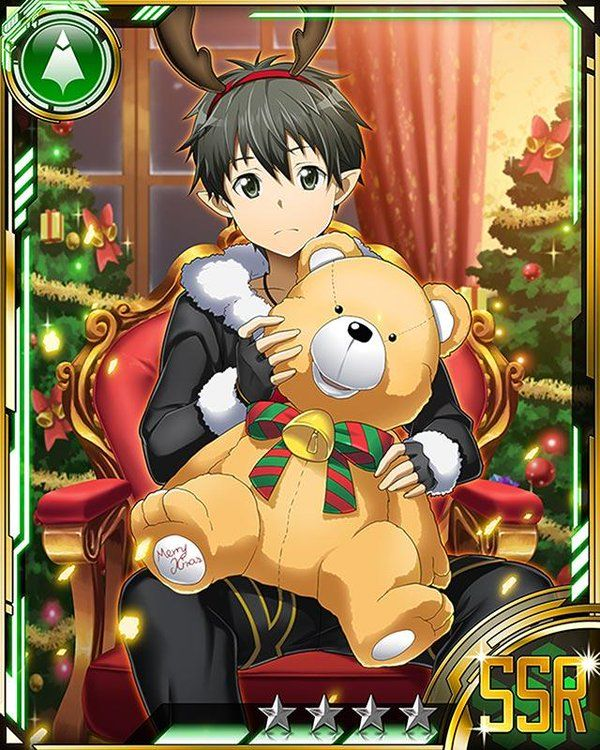 Kirito Christmas Card. He doesn't look all too happy does he?