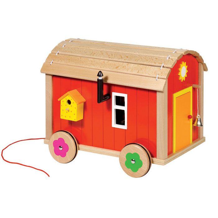 Goki Puppenhaus Puppenbauwagen mit Zubehör