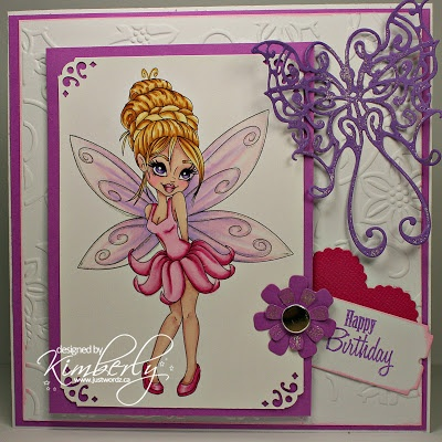 "Redonkadoodles.com - ""Shy Fairy"" Digital Stamp - Handmade Card Design By: Kim"