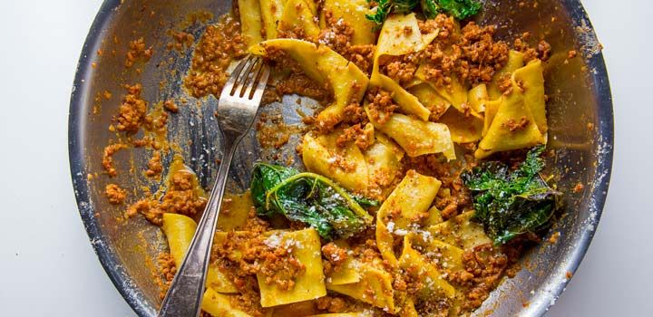 Tim Maslow makes fresh pappardelle for his bolognese. Make it today!