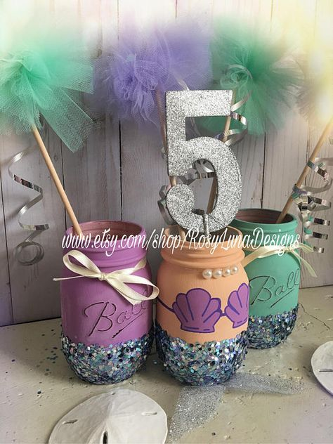 Purple and teal mermaid mason jar party set birthday party