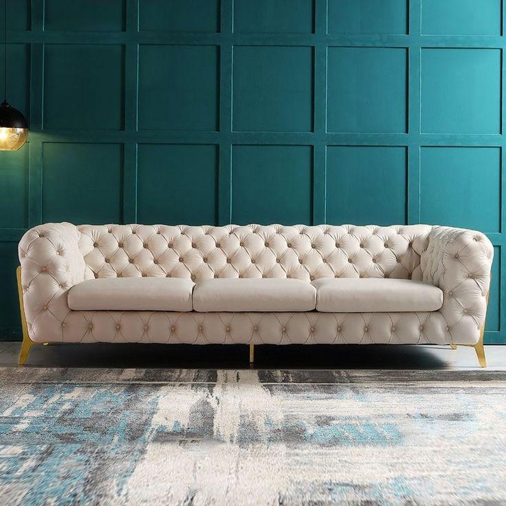 Modern Blue/Beige 91 in 2020 | Beige sofa living room ...