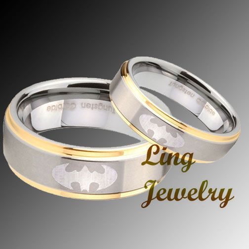 Tungsten Batman 2 pcs His Hers Wedding Ring Set for kevy really
