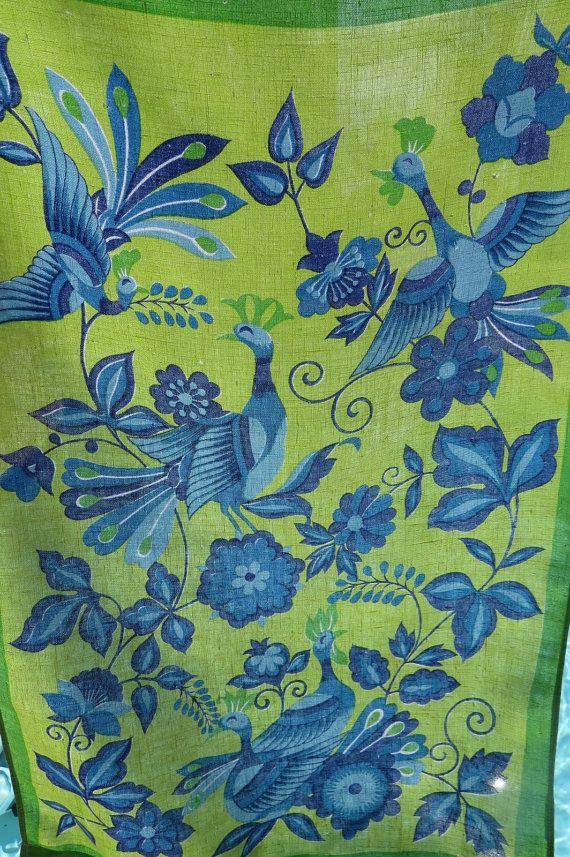 Vintage Tea Towel Dish Kitchen Towel   Lime Green And Blue Peacocks   Retro  Kitchen