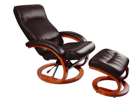 Inclinable. Repose-pied assorti en cuir . Dim. : H110xL66xP70cm, incliné : H93xL66xP118cm. Fauteuil massant ultra design à 269€ seulement