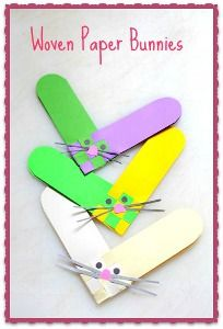 Paper weaving meets adorable kids paper craft with the Woven Paper Bunnies.