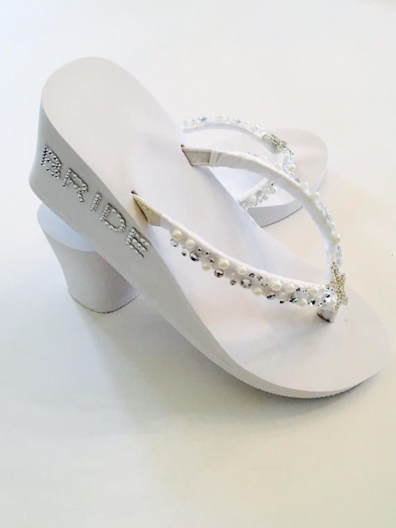 White Wedding Flip Flops Bridal FlipFlopsWedding ShoesBridal ShoesRhinestone ShoesBeach WeddingHigh Wedges