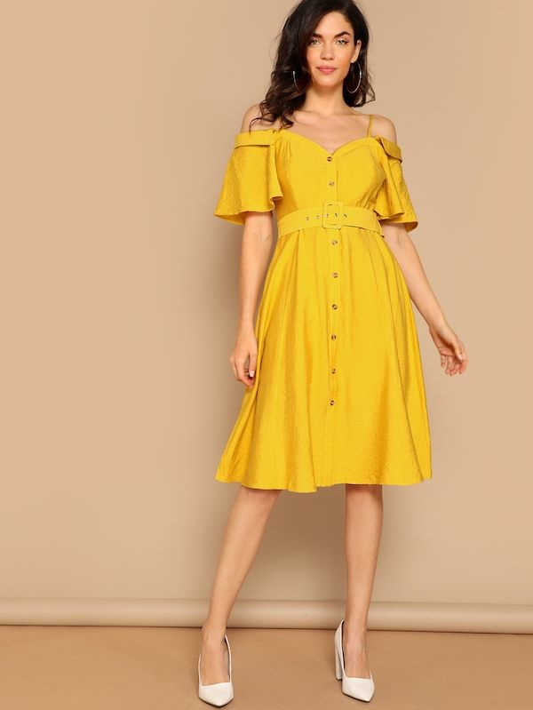 d86d700963b1 Cold Shoulder Sweetheart Button Front Belted Dress