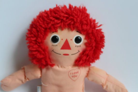 RAGGEDY ANDY DOLL, Vintage Rag Doll, gift for girl, baby doll for girl, vintage rag doll for child, 1987 Playskool doll, plush collectible