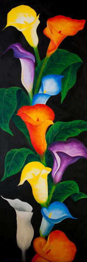 Pretty painting idea. Cala Lilys in multiple colors. Rainbow colored flowers. Please also visit www.JustForYouPropheticArt.com for more colorful art you might like to pin or purchase or for painting ideas for your own paintings. Thanks for looking!