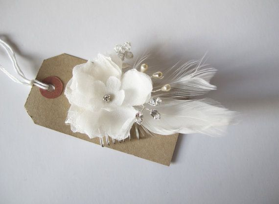 Bridal handmade small sheer silk flower hair comb £12 SPECIAL OFFER by LucyFisherDesigns