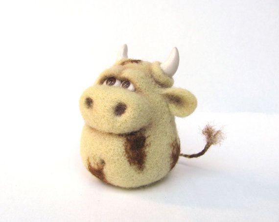 Needle Felted Toy Funny Cow Bull Felt Toys Beige Cream by VladaHom, $49.90