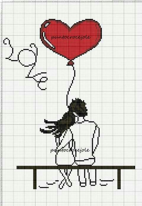 Love couple x-stitch