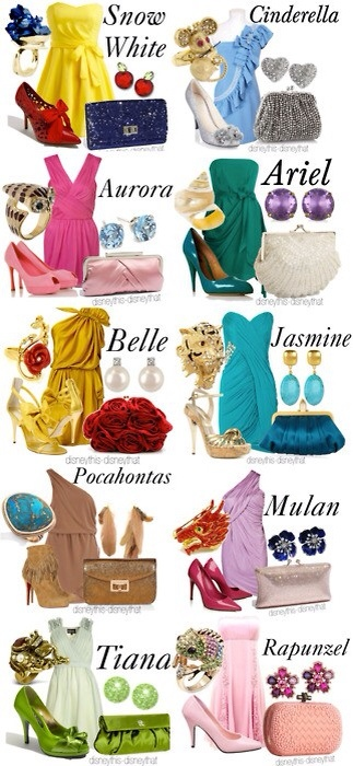 Disney fashion. If you wanted a disney wedding but more minimal idea. Let your bridesmaids pick a princess and try this ^^