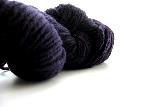 Cormo Wool Yarn Hand Dyed Aran 10ply Black Currant by msgusset, $32.00