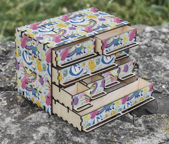 Adventure Time Wooden Part Box - Fin and Jake Image, Beemo, Princess Bubblegum, Lady Raincorn, Toys box, Needlework case, Kids furniture