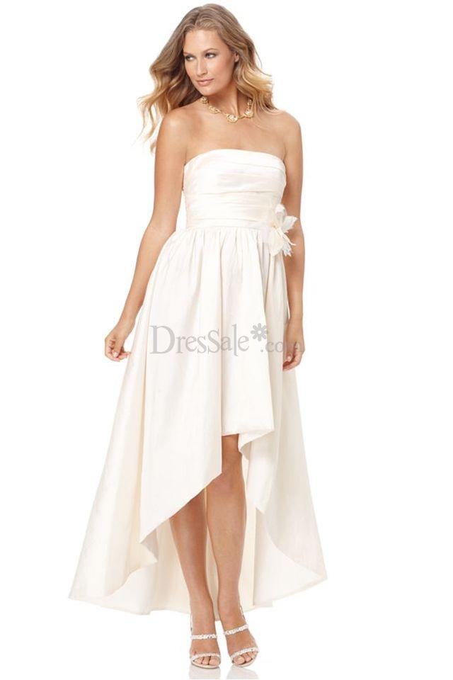 Engrossing white bridesmaid dress with asymmetrical hem for Wedding dresses asymmetrical hemline