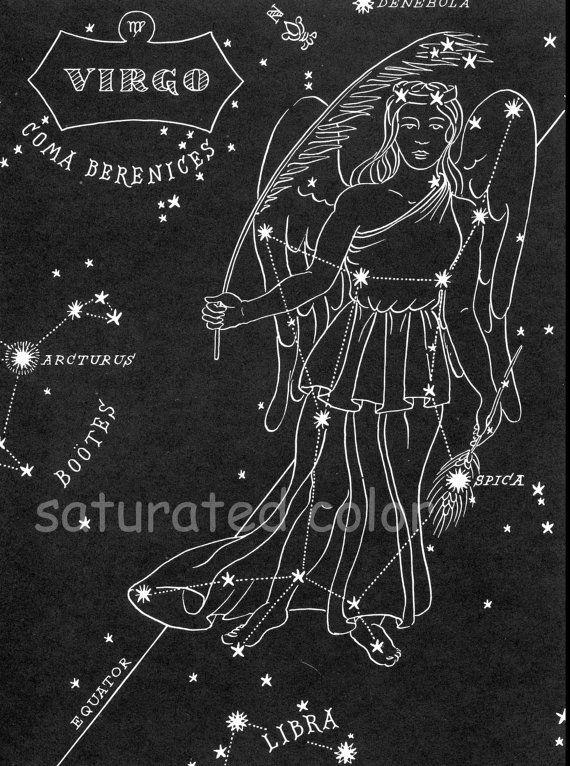 Virgo Night Sky Star Chart Map Zodiac Constellation Stars From 1948 Astronomy Textbook