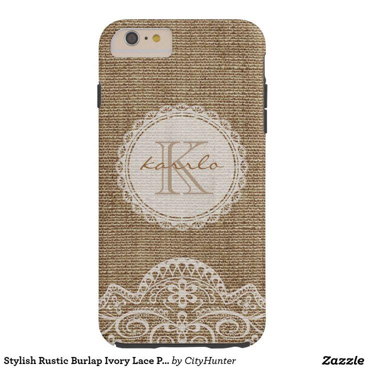 Stylish Rustic Burlap Ivory Lace Pattern Monogram Tough iPhone 6 Plus Case