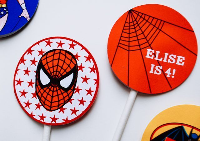 Spider-Man-inspired printable personalized cupcake toppers or temporary tattoos for a Spiderman birthday party