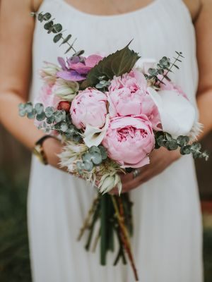 Bridget's Flowers Norfolk Wedding Floral Arrangements UK https://www.bridgets.co.uk/ | Bouquet Pink Peony Peonies Whimsical Organic Wild Modern