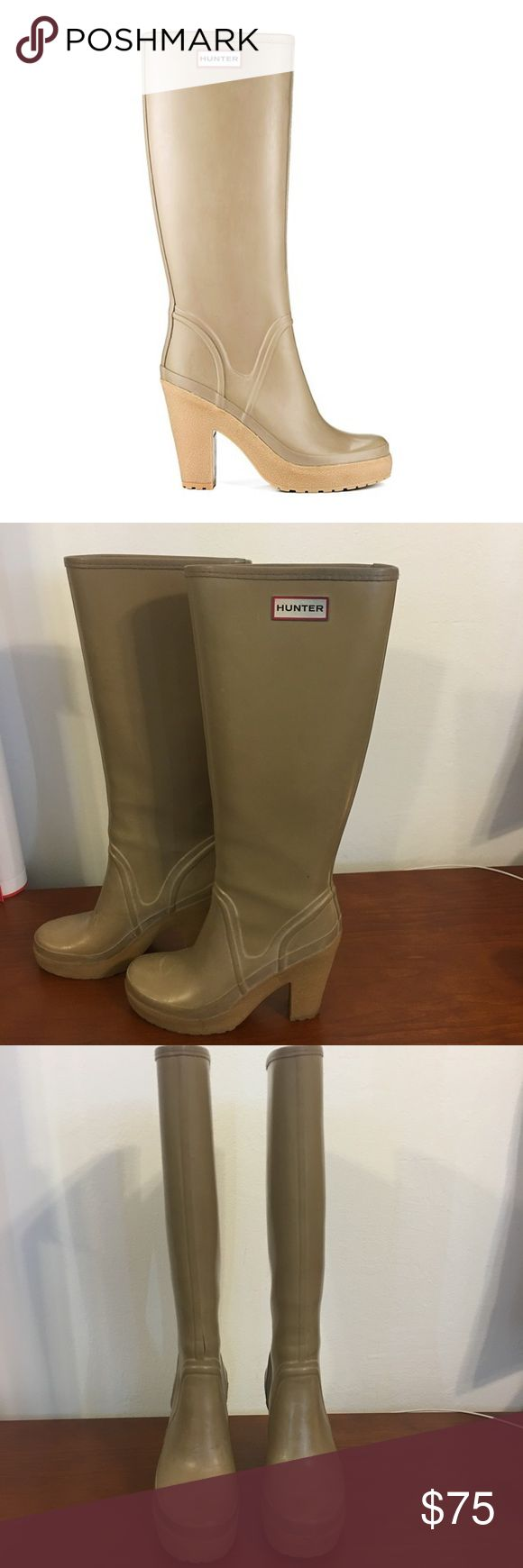 Hunter heeled boots Authentic Hunter heeled boots! A definite must have for any closet! As shown in picture 3&4 these have a minor flaw (tear) in the right boot, but an easy fix! Tear does NOT affect keeping water out. Hunter Boots Shoes Winter & Rain Boots