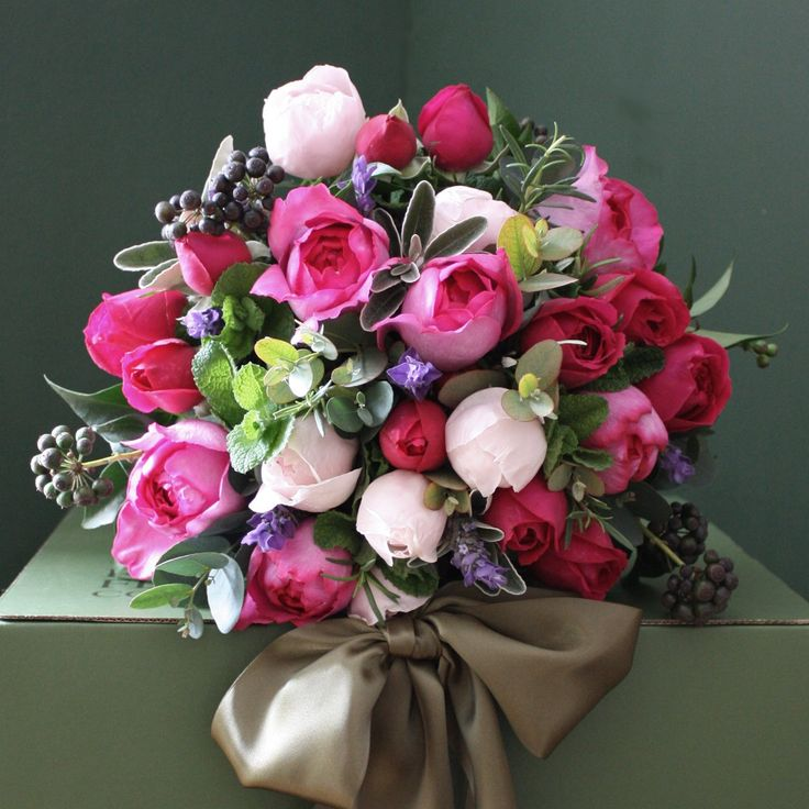 Scented Pink Garden Rose and Herb Bouquet From The Real Flower Company
