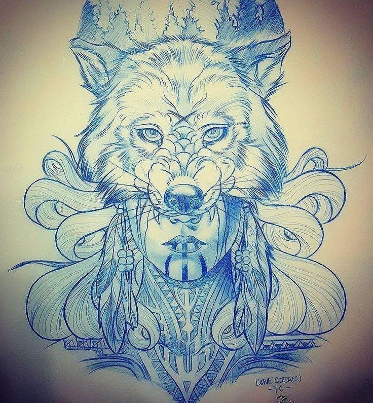 Эскиз тату девушки с маской волка