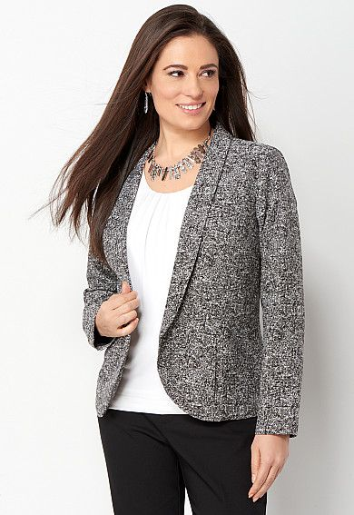 Petite Black and White Soft Jacquard Jacket