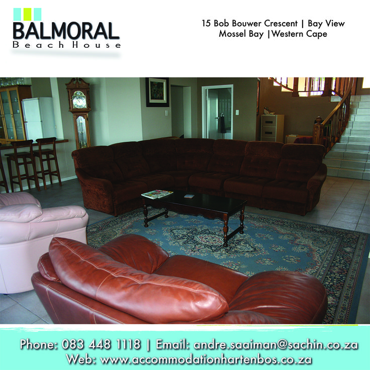 We have a beautiful sitting room to enjoy some family time together. Call us at: 083 448 1118 E-Mail: andre.saaiman@sachin.co.za #accommodation #Hartenbos #sittingroom