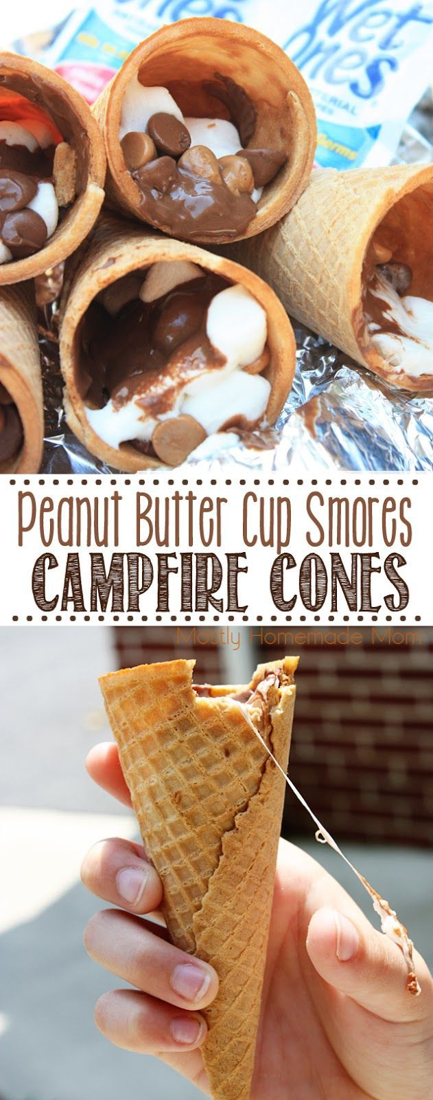 Peanut Butter Cup Smores Campfire Cones - Miniature peanut butter cups and marshmallows and roasted over a fire inside sugar cones - this is the perfect camping treat! #ad