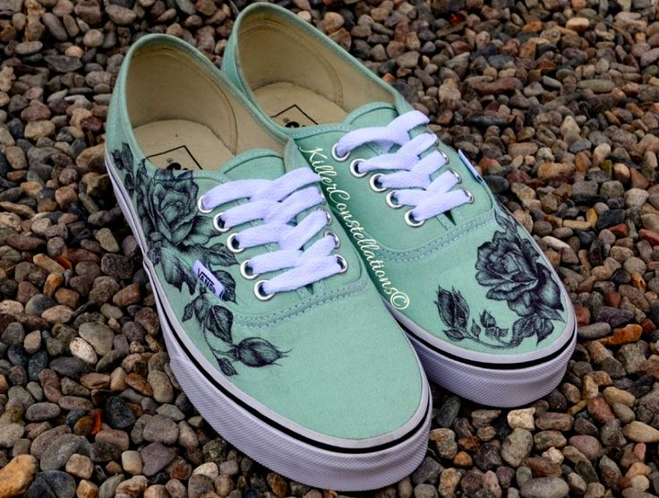 Custom Hand Drawn Sharpie Rose Design Vans Shoes from KillerConstellations on Etsy