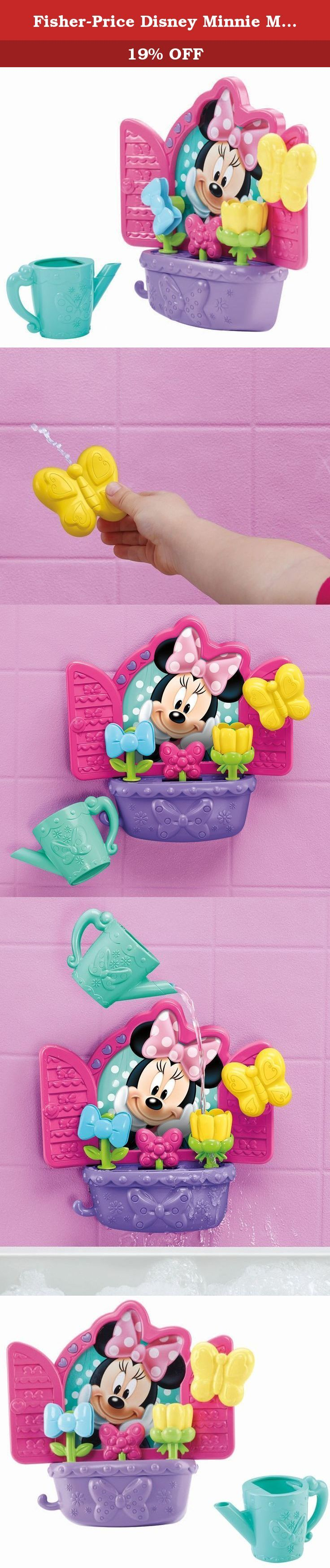 Fisher-Price Disney Minnie Mouse Bow-tiful Bath Blooms. Water makes Minnie's flowers grow and spin and twirl! Suction Minnie's windowsill and flower box onto your bathtub or shower wall and use the watering can to make the Bow-tiful Bath Blooms come to life! Pour the water and the bow flower spins like a pinwheel while the tulip twirls and the middle flower begins to grow! You can also water from afar by using the butterfly squitter to spray the flowers! The watering can and butterfly...