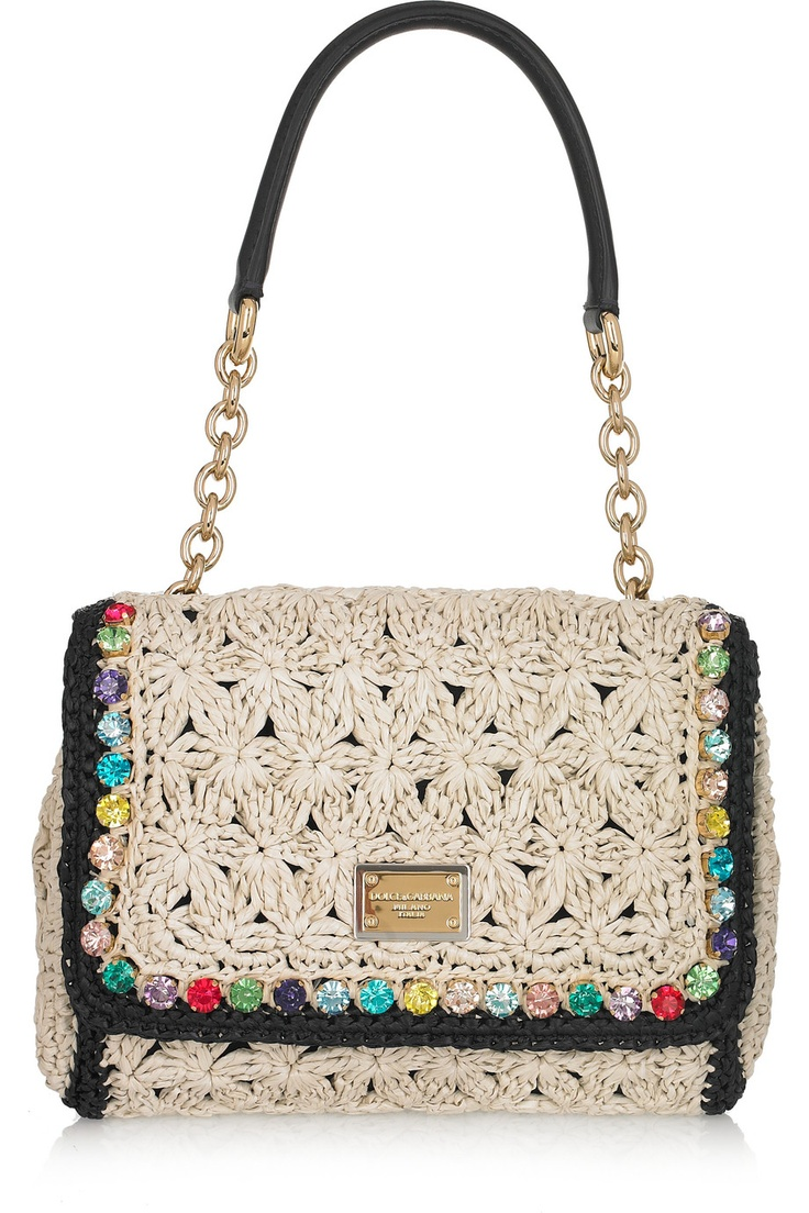 DOLCE & GABBANA.   Crystal-trimmed crocheted raffia shoulder bag.