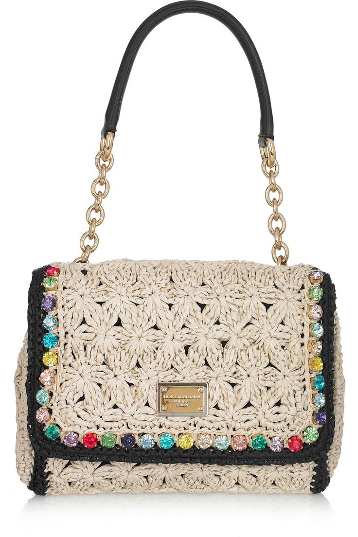 Crystal-trimmed crocheted raffia shoulder bag