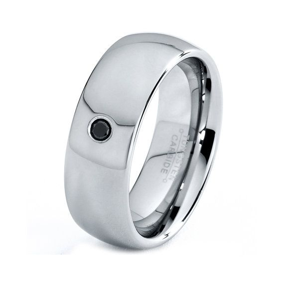 Mens Tungsten Carbide Wedding Band Ring 8mm Black Diamond 8 12 Sizes Comfort Fit Domed High