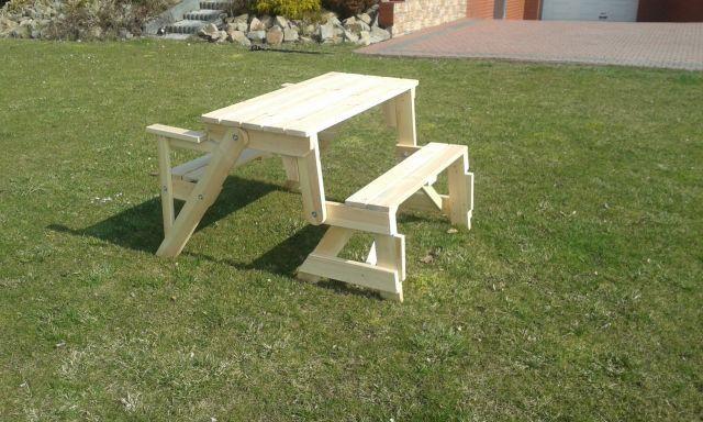 Meble ogrodowe drewniane składane ławko-stół - sosnalita.pl - meble sosnowe