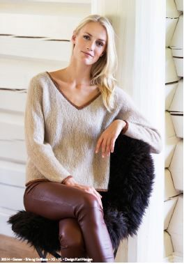 """Ladies' vneck sweater, knit in Dale Garn's new """"Erle"""" yarn, a wonderfully soft kid mohair / silk / wool blend, trimmed in sparkling Gullfasan, a soft metallic yarn.  Yarn and knitting pattern, from Book 305, available at Kidsknits.com."""